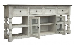 "Factory 7 80"" Post Open Concept Console with 4-Drawers and 2-Doors"