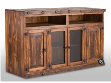 "Laredo Distressed 60"" TV Console w/ Glass Doors"