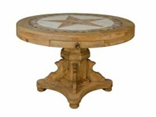 "Rustic 47"" Round Table with Marble Top and Marble Star Inlay"