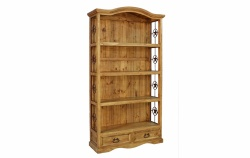 Rustic 2 Drawer Bookcase with Iron